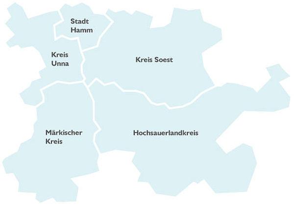 Eine Karte mit dem Tarifgebiet des ZRL. Er umschließt den Märkischen Kreis, den Kreis Unna, die Stadt Hamm, den Kreis Soest und den Hochsauerlandkreis.